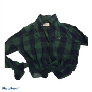 Hollister Black and Green Check Flannel shirt